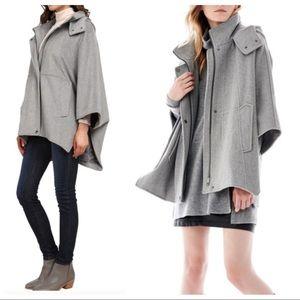 DKNY Oversized Gray Wool Blend Hooded Cape Coat